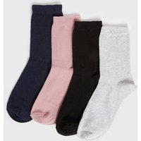 4 Pack Navy Pink Black and Grey Plain Socks New Look
