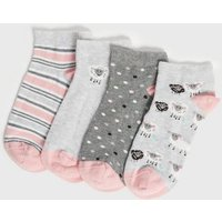 4 Pack Grey Sheep Stripe and Spot Trainer Socks New Look