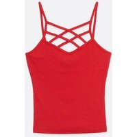 Girls Red Ribbed Lattice Cami New Look