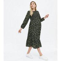 Maternity Black Floral Shirred Midi Dress New Look