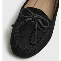 Wide Fit Black Suedette Bow Tassel Loafers New Look