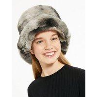 Girls White Tie Dye Faux Fur Bucket Hat New Look