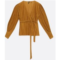 Vero-Moda-Curves-Bronze-Pliss%c3%a9-Wrap-Top-New-Look