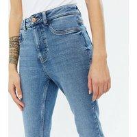 Petite Blue High Waist Hallie Super Skinny Jeans New Look