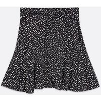 Black Spot Tie Front Mini Flippy Skirt New Look