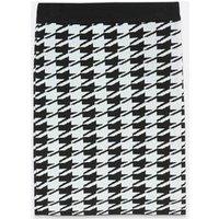 Black Dogtooth Knit Tube Skirt New Look