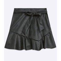 Cameo Rose Black Leather-Look Frill Hem Skirt New Look