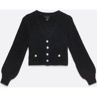 Black Fluffy Gem Button Cardigan New Look
