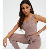Petite Mink Cardigan Vest and Leggings Set New Look