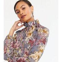 NA-KD Pale Grey Floral Frill Trim Dress New Look