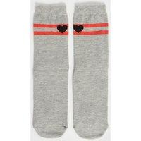 Grey Sole Mates Heart Socks New Look