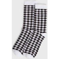 White Gingham Socks New Look