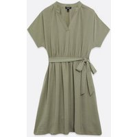 Curves Light Green Belted Waist Dress New Look