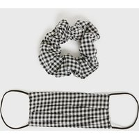 Black Gingham Face Covering and Scrunchie New Look