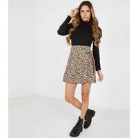 QUIZ Stone Leopard Print Wrap Skirt New Look