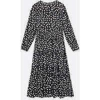 Tall Black Spot Tiered Smock Midi Dress New Look
