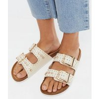 Off White Leather-Look Studded Footbed Sliders New Look Vegan