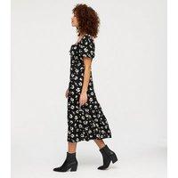 Black Daisy Tie Front Sweetheart Midi Dress New Look