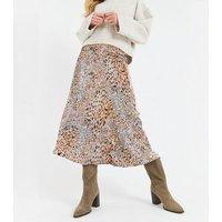 Zibi London Pink Leopard Print Satin Maxi Skirt New Look