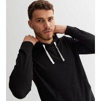 Men's Black Jersey Pocket Front Long Sleeve Hoodie New Look