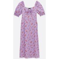 Purple Ditsy Floral Sweetheart Midi Dress New Look