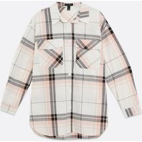 White Check Pocket Front Shacket New Look