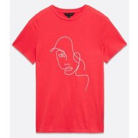 Red Embroidered Face T-Shirt New Look