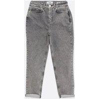 Petite Grey Acid Wash Waist Enhance Tori Mom Jeans New Look
