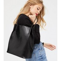 Black Leather-Look Woven Tote Bag New Look Vegan