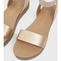 Rose Gold 2 Part Flatform Sandals New Look