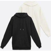 2 Pack Black and Cream Hoodies New Look