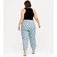 Curves Black Heart Jogger Pyjama Set New Look