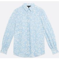 Blue Floral Long Puff Sleeve Shirt New Look