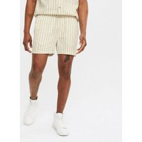 Men's White Pinstripe Toggle Shorts New Look