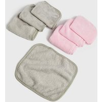 7 Pack Pink and Grey Days Of The Week Face Cloths New Look