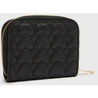 Girls Black Quilted Heart Purse New Look