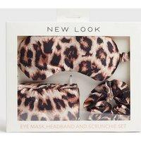 Brown Leopard Print Eye Mask Set New Look
