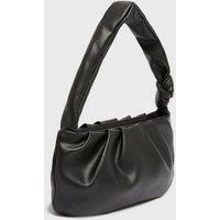 Black Leather-Look Ruched Knot Shoulder Bag New Look Vegan