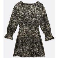 AX Paris Black Leopard Print Skater Dress New Look