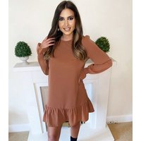 AX Paris Camel Ruffle Hem Shift Dress New Look
