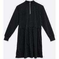 Black Zip High Neck Smock Dress New Look