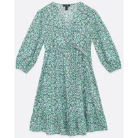 Maternity Blue Floral Crepe Wrap Dress New Look