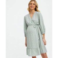 Maternity Light Green Spot Crepe Wrap Dress New Look