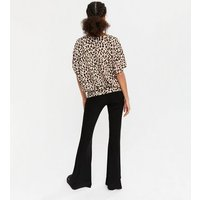 2-Pack-Brown-Leopard-Print-and-Black-Knit-Batwing-Tops-New-Look
