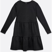 Black Tiered Smock Mini Dress New Look