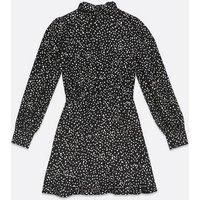 AX Paris Black Spot High Neck Dress New Look
