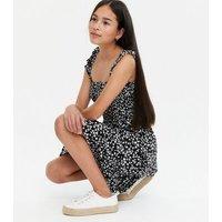 Girls Black Ditsy Floral Square Neck Midi Dress New Look