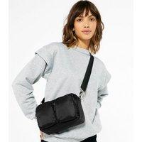 Black Double Pocket Front Cross Body Bag New Look