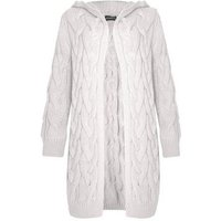 JUSTYOUROUTFIT Stone Cable Knit Hooded Cardigan New Look