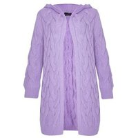 JUSTYOUROUTFIT Lilac Cable Knit Hooded Cardigan New Look